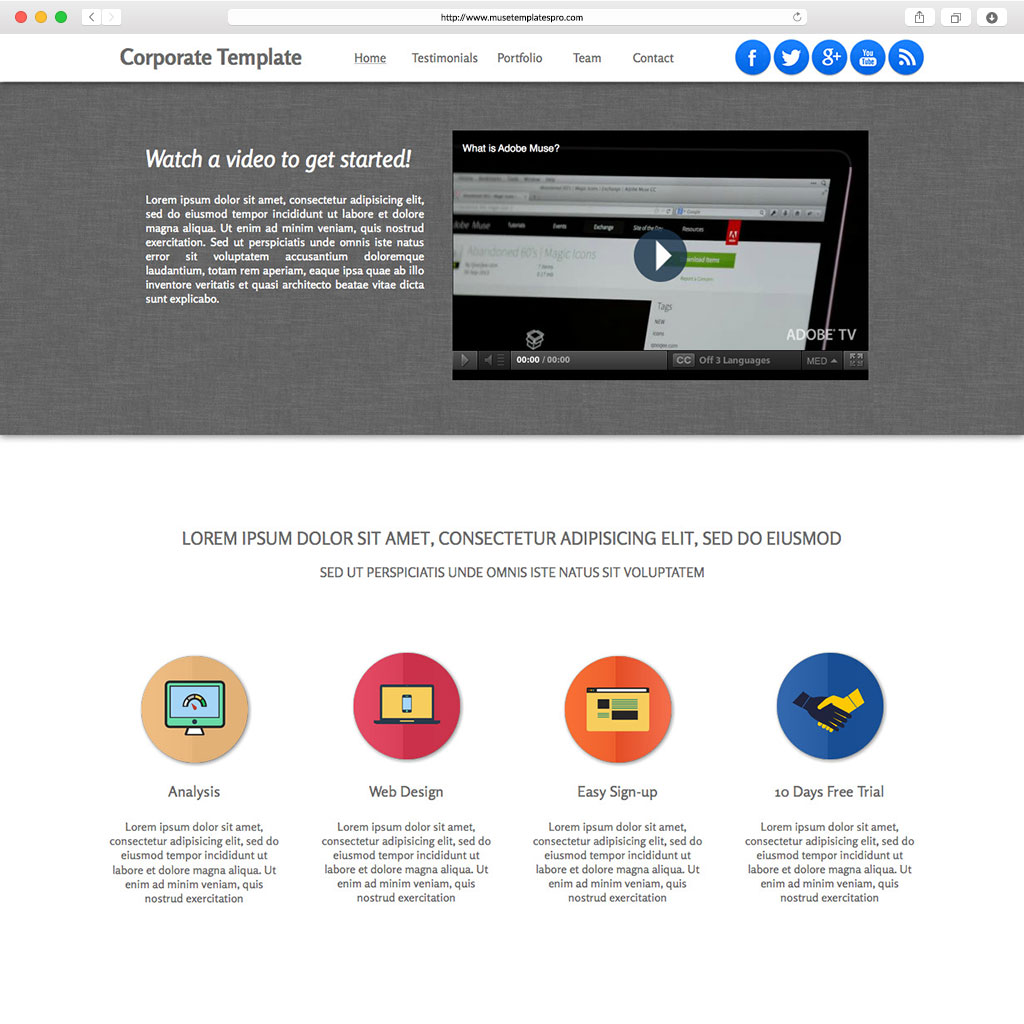 corporate adobe muse template by musetemplatespro com