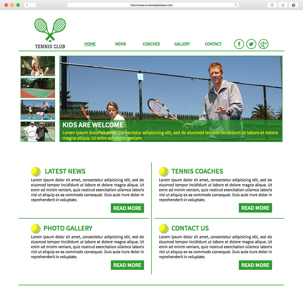 tennis adobe muse template by. Black Bedroom Furniture Sets. Home Design Ideas